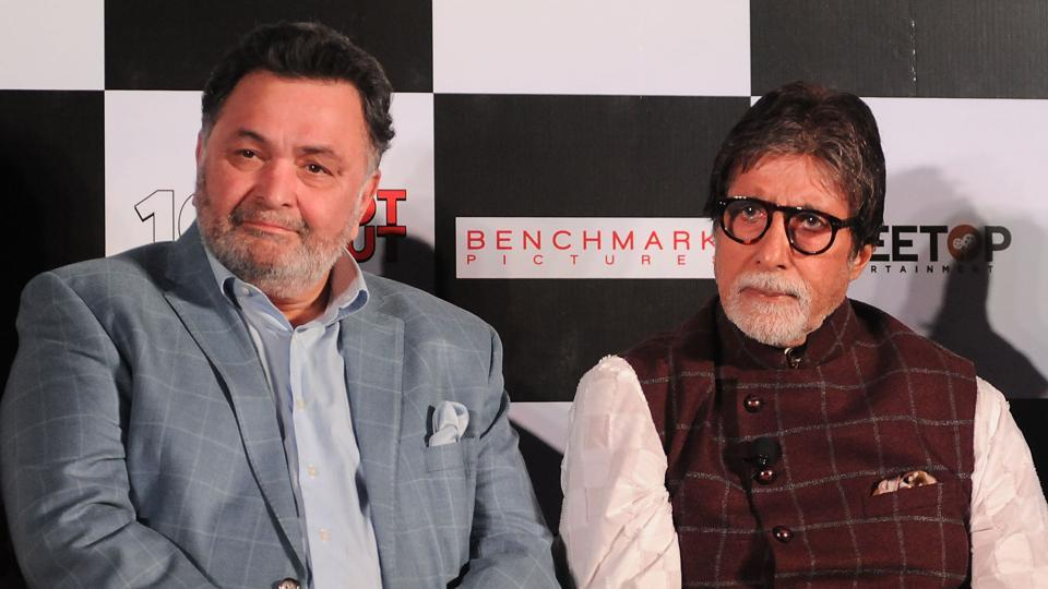Rishi Kapoor (L) and Amitabh Bachchan (R) promote their film, 102 Not Out.