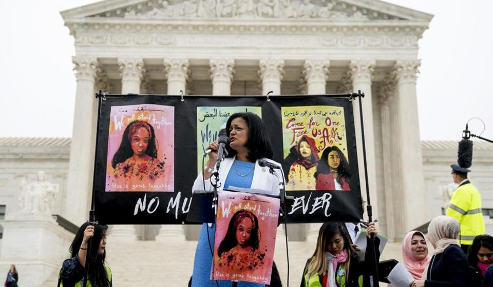 Rep. Pramila Jayapal, D-Wash, speaks at an anti-Muslim ban rally outside the US Supreme Court. The letter for work permits to spouses of H-1B Visa holders was initiated by Indian-American member of the House of Representatives Jayapal  and her colleague Mia Love.