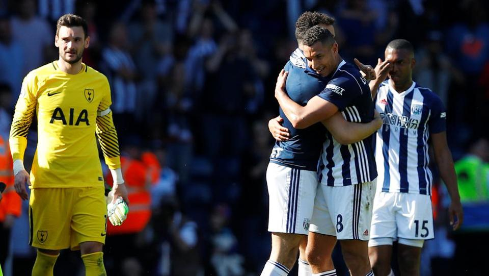 West Bromwich Albion's Jake Livermore celebrates with team mates after their victory over Tottenham Hotspur.