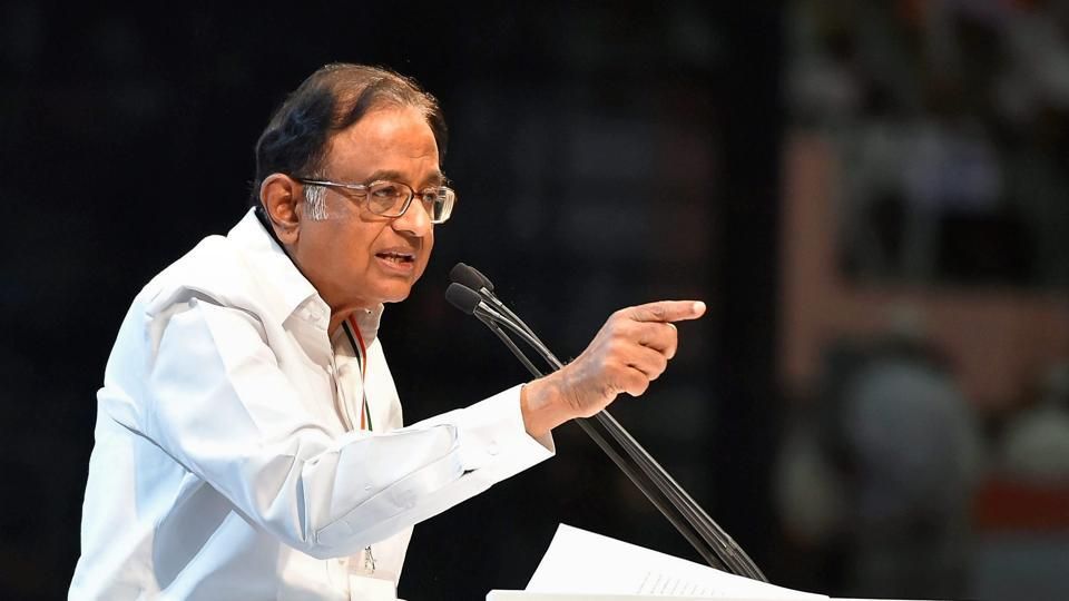 Former finance minister P Chidambaram speaking during the 84th Plenary Session of Indian National Congress (INC) in New Delhi.