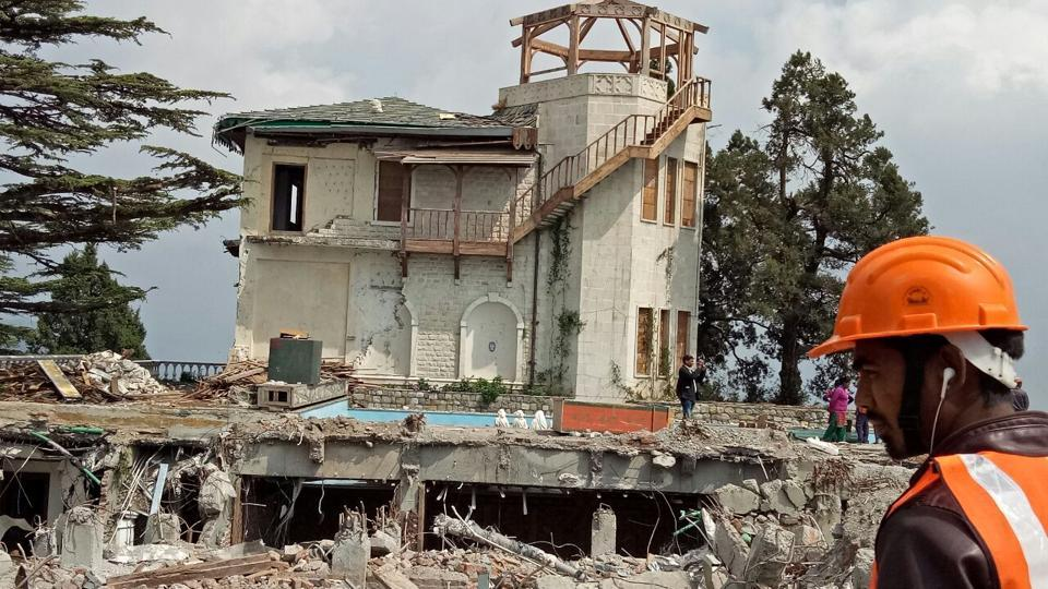 A partly demolished bungalow of hotelier Sanjay Narang in Landour area of Mussoorie in Uttarakhand.