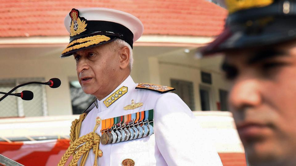 Admiral Sunil Lanba addresses a function organised for the presentation of all gallantry and non-gallantry awards announced by the President on the Republic Day this year, at the Southern Naval Command (SNC) in Kochi.