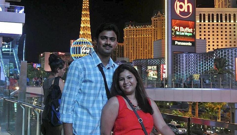 Sunayana Dumala with her husband Srinivas Kuchibhotla in Las Vegas.