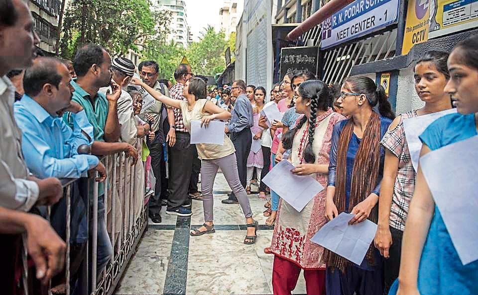 Students outside a NEET exam centre in Santacruz,Mumbai on Sunday.
