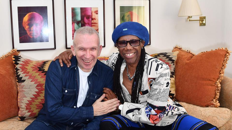 Fashion designer Jean Paul Gaultier poses with and record producer Nile Rodgers, who will be responsible for the music for the show.