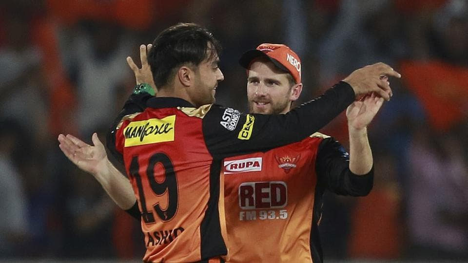 Sunrisers Hyderabad's Rashid Khan (L) celebrates a wicket with captain Kane Williamson.  (AP)
