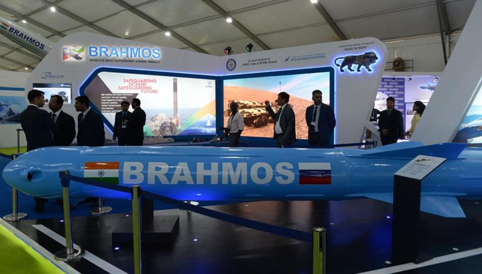 A display of DRDO's Brahmos missile at the DefExpo 2018, a large defence exhibition showcasing military equipment, on the outskirts of Chennai on April 11, 2018.