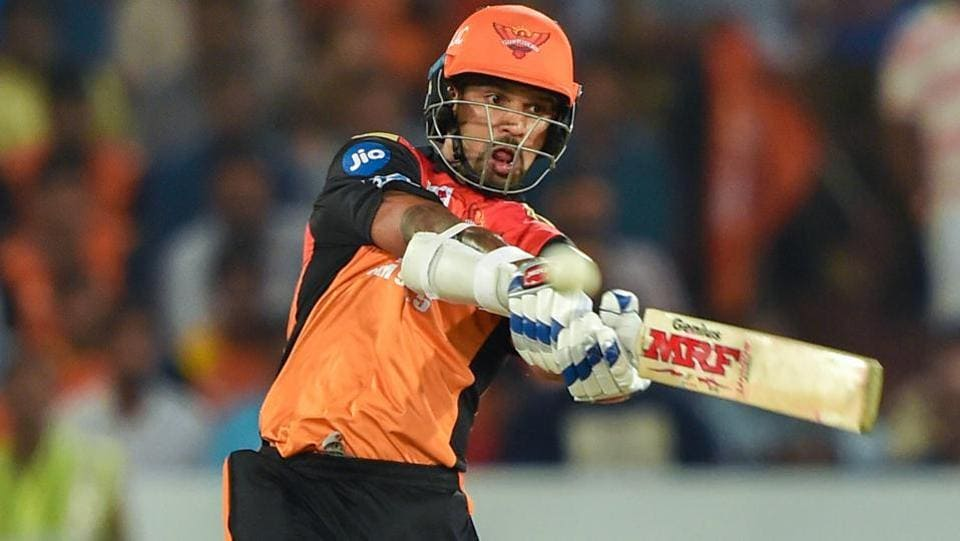Sunrisers Hyderabad batsman Shikhar Dhawan plays a shot.  (PTI)
