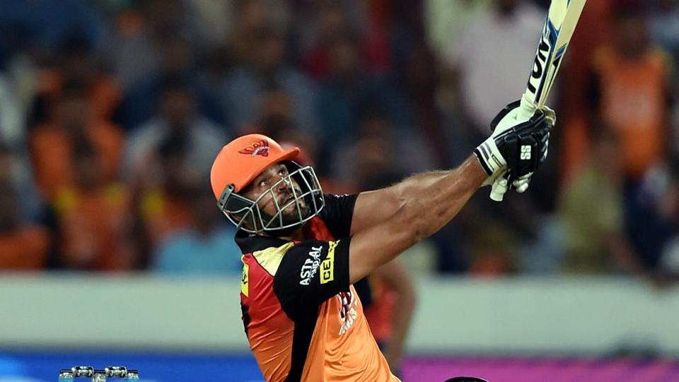 Sunrisers Hyderabad batsman Yusuf Pathan hits a six.  (PTI)