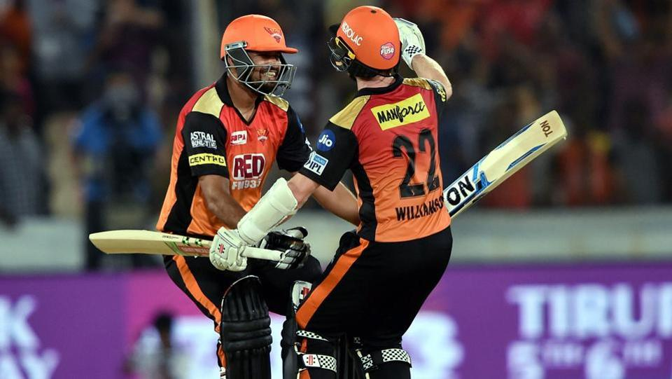 Sunrisers Hyderabad batsmen Kane Williamson and Yusuf Pathan celebrate after beating Delhi Daredevils.  (PTI)
