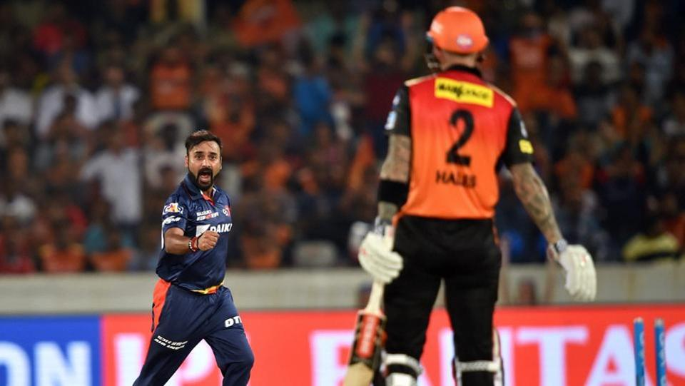 Delhi Daredevils bowler Amit Mishra celebrates after taking the wicket of Sunrisers Hyderabad batsman Alex Hales.  (PTI)
