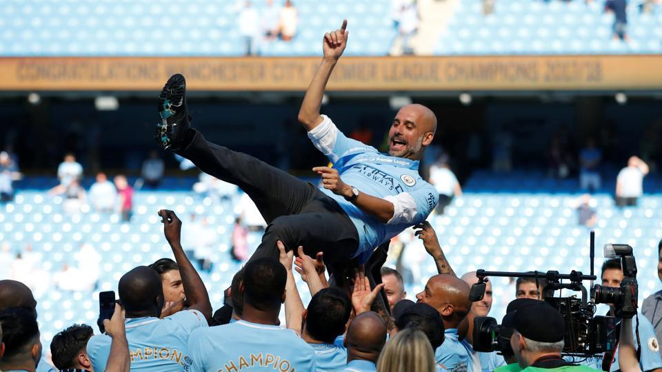 This was also Pep Guardiola's first league title in England. (REUTERS)