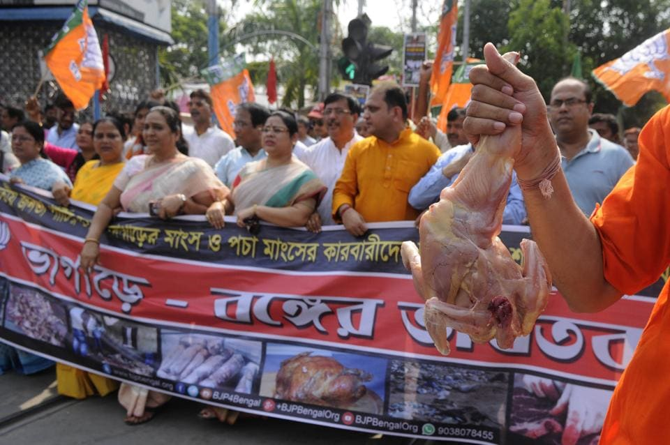 BJP leaders at a rally organised in Kolkata on May 3 demanding arrest of the kingpins in the carcass meat racket.