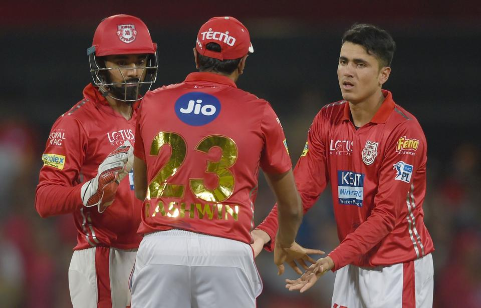 But Kings XI Punjab's Mujeeb Zadran (R) pegged Rajasthan Royals back, he took three wickets for 27 runs in the middle overs. (AFP)