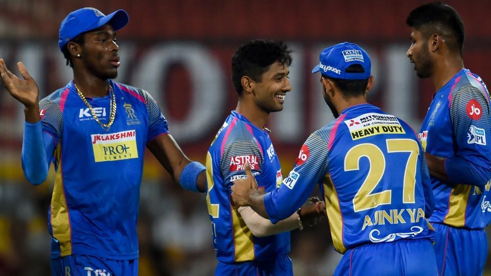 Like previously Rajasthan struck twice in quick succession, Krishnappa Gowtham (R) getting Axar patel for four. (AFP)