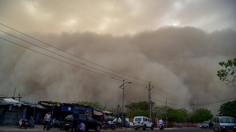 A dust storm is seen building up over Bikaner on Monday.