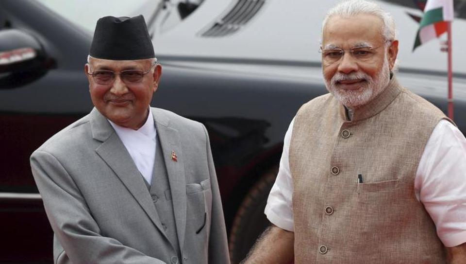Prime Minister Narendra Modi with Nepal's Prime Minister Khadga Prasad Sharma Oli, Rashtrapati Bhavan, New Delhi (File Photo)