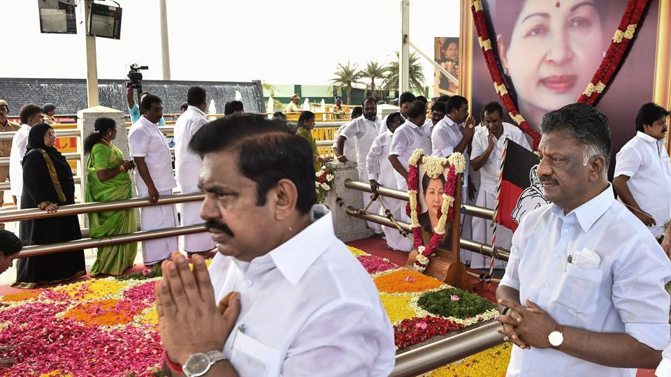Tamil Nadu Chief Minister K Palaniswami with his deputy O Panneerselvam pays tribute to former chief minister J Jayalalithaa after the foundation laying ceremony of a memorial at Marina Beach in Chennai on Monday. (PTI)