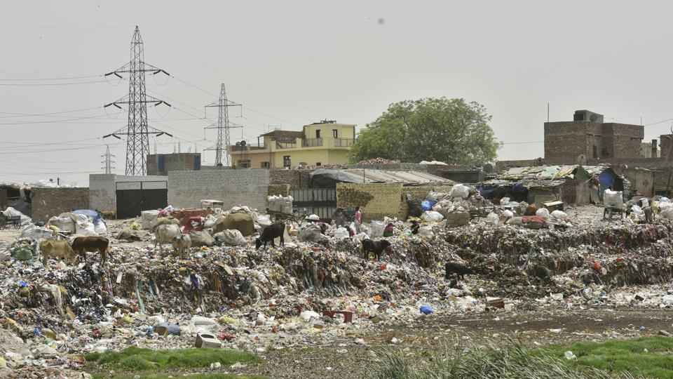 Both swathes of land fall in east Delhi. According to the EDMC, if these plots are left vacant it could soon be usurped by land sharks. Illegal activities such as sand mining and extracting groundwater are rampant on these lands. All along the road, one can see locals dumping waste in these empty plots and shanties have already come up in some portions.  (Anushree Fadnavis / HT Photo)