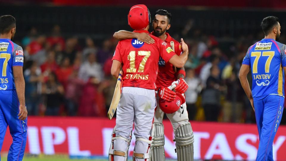 A sixth wicket partnership between KL Rahul and Marcus Stoinis saw Kings Xi Punjab over the line against Rajasthan Royals.  (PTI)