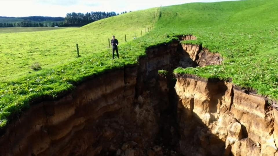 Huge sinkhole discovered on New Zealand farm