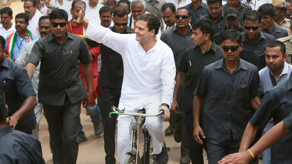 Congress President Rahul Gandhi rides a bicycle to protest against the fuel price hike at Malur in Kolar district on Monday. (PTI)