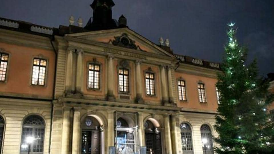 A view of the Stock Exchange Building (Börshuset), which houses the Swedish Academy, in Stockholm's old city.