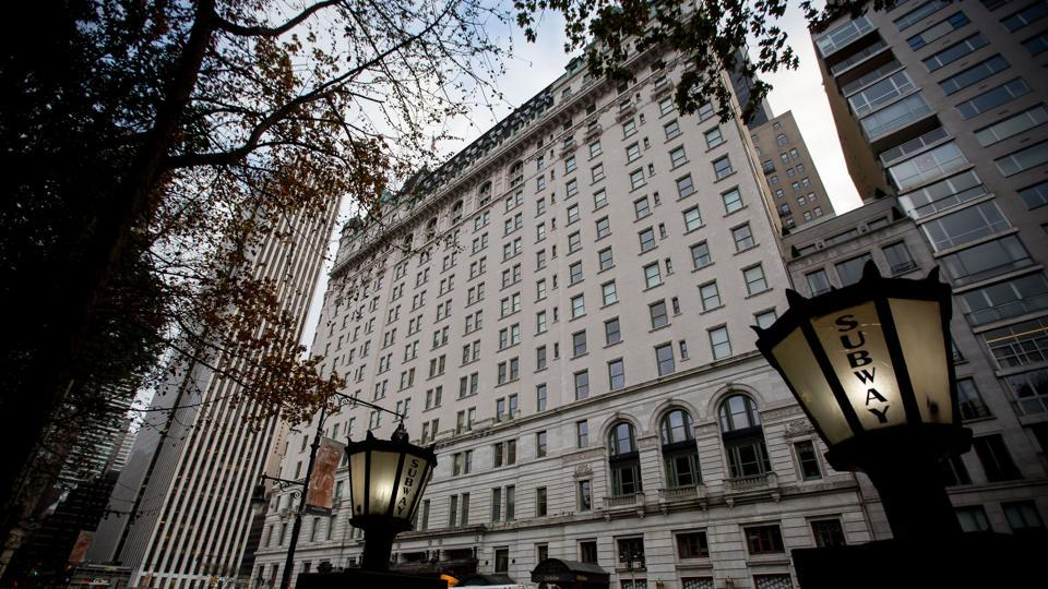 The Plaza Hotel stands in New York, US, on Monday.