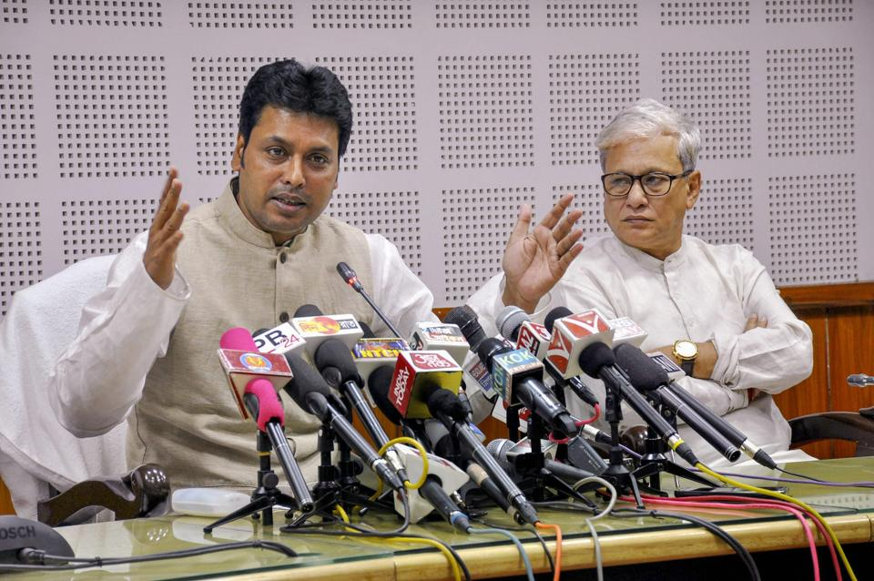 The Tripura government, headed by chief minister Biplab Kumar Deb, has told opposition party leaders to vacate offices built on encroached land or face eviction.