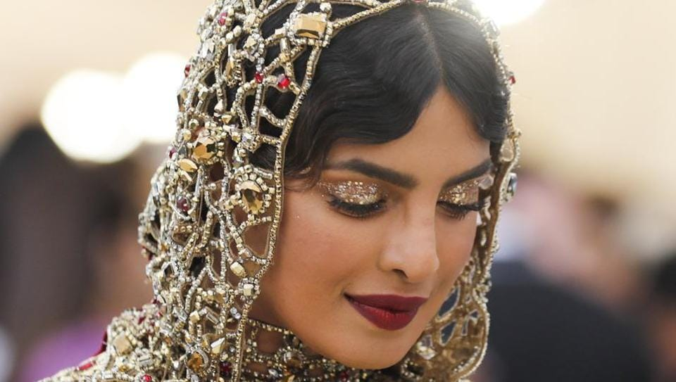 Actor Priyanka Chopra arrives at the Metropolitan Museum of Art Costume Institute Gala (Met Gala) to celebrate the opening of Heavenly Bodies: Fashion and the Catholic Imagination.