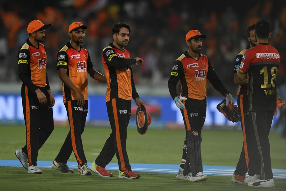 Sunrisers Hyderabad cricketers celebrate after winning the Indian Premier League (IPL) 2018 match against Royal Challengers Bangalore at the Rajiv Gandhi International Cricket Stadium in Hyderabad on May 7, 2018.  (AFP)