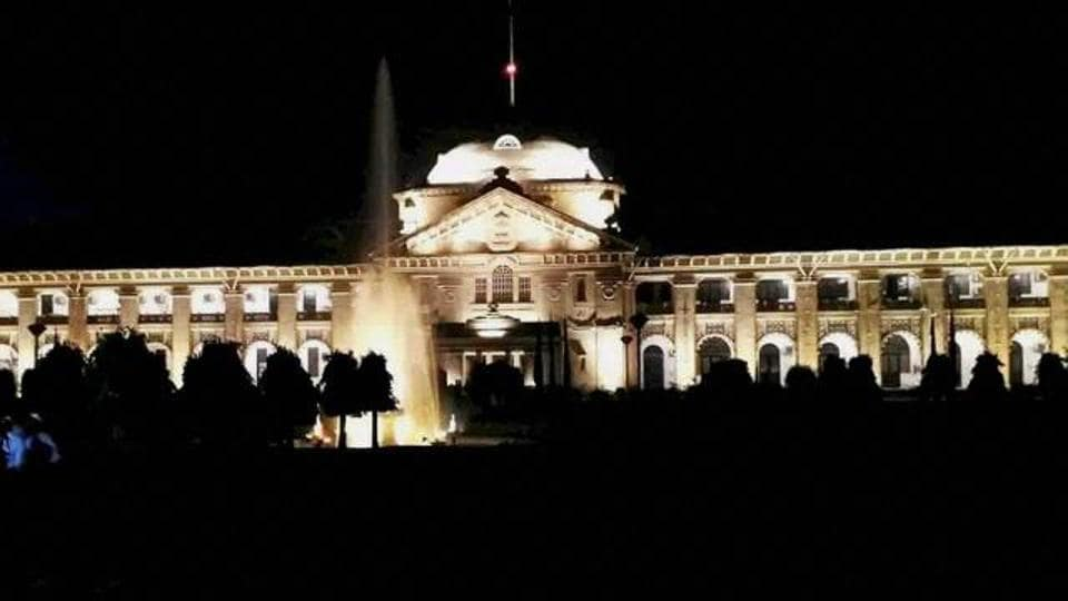 A view of an illuminated Allahabad High Court in Allahabad