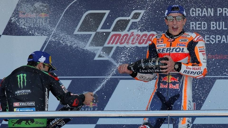 Repsol Honda Team's Marc Marquez celebrates after winning the MotoGP Spanish Grand Prix at Jerez, Spain, on Sunday.