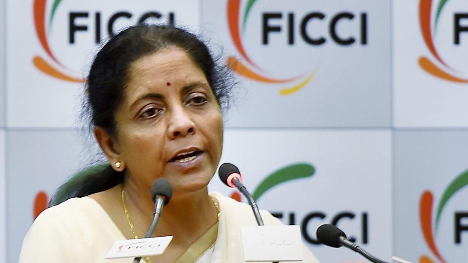 Nirmala Sitharaman addresses a sesion in New Delhi on Monday.