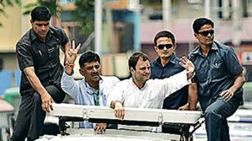 Congress president Rahul Gandhi during a road show in southern Bengaluru on Wednesday.