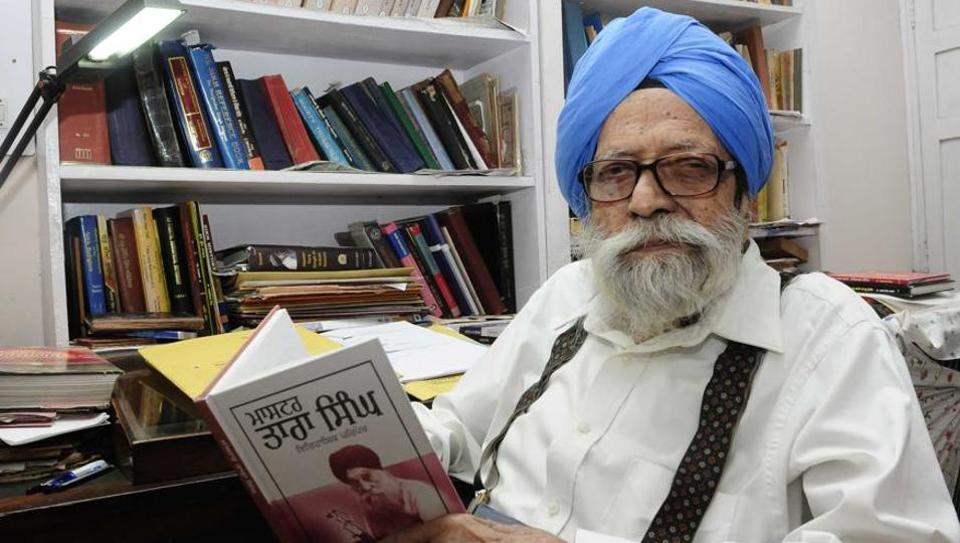 Prof Kirpal Singh, 94, at his residence in Sector 15, Chandigarh,on Tuesday.