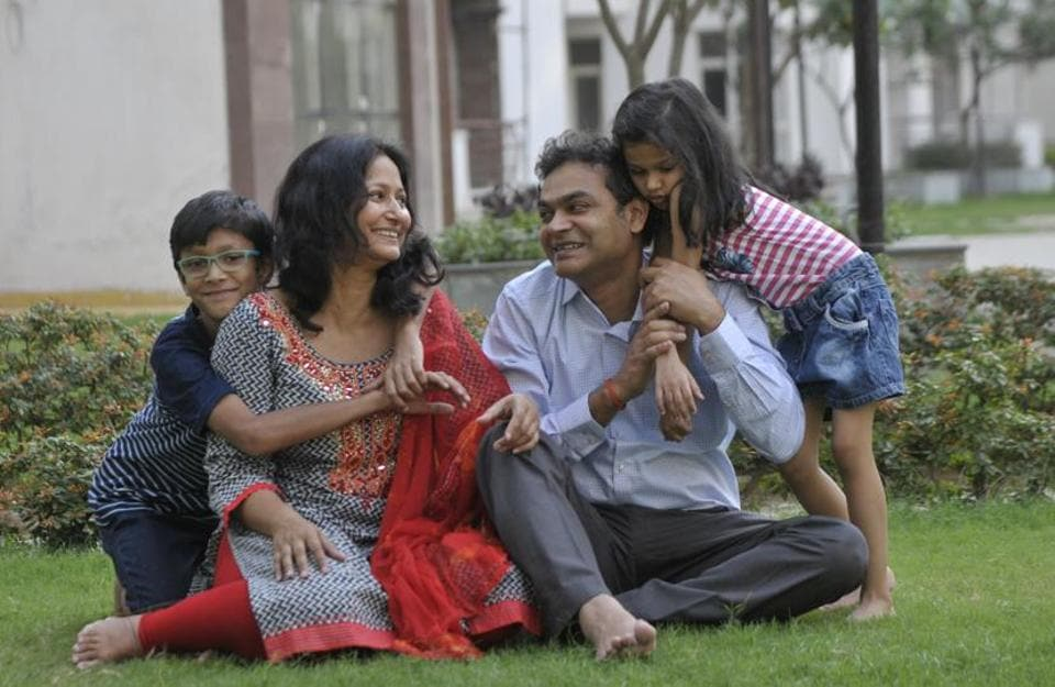 Monika Singh with her family.