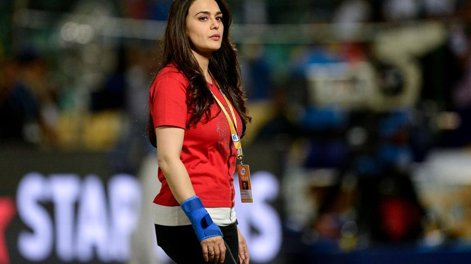 Bollywood actress and co-owner of Kings XI Punjab, Preity Zinta, reacts after her team lost the match against Rajasthan royals on Tuesday.  (AFP)