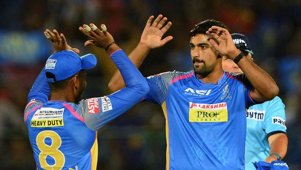 Rajasthan Royals bowler Ish Sodhi (R) celebrates with teammates after he dismissed Kings XI Punjab batsman Akshdeep Nath (unseen) during the IPL 2018 match in Jaipur on Tuesday. (AFP)