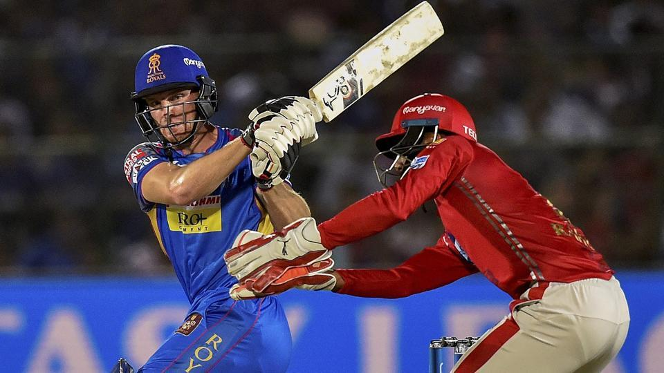 Rajasthan Royals' Jos Buttler pulls one to the boundary during the Indian Premier League (IPL 2018) match against Kings XI Punjab at Sawai Mansingh Stadium in Jaipur on Tuesday.