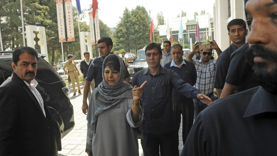 Jammu and Kashmir chief minister Mehbooba Mufti arrives to chair the all-party meeting at the Sher-i-Kashmir International Conference Centre (SKICC) in Srinagar on Wednesday. The  government has convened an all-party meet Wednesday afternoon to discuss the worsening situation in the valley that has seen frequent gunfights between militants and security forces and deaths of civilians in firing during protests near these encounters. (Waseem Andrabi / HT Photo)