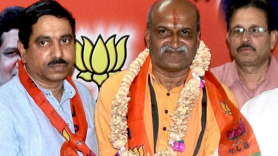 A file photo of Pramod Muthalik joining the BJP in the presence of former Karnataka chief minister Karnataka Jagadish Shettar in Hubli.