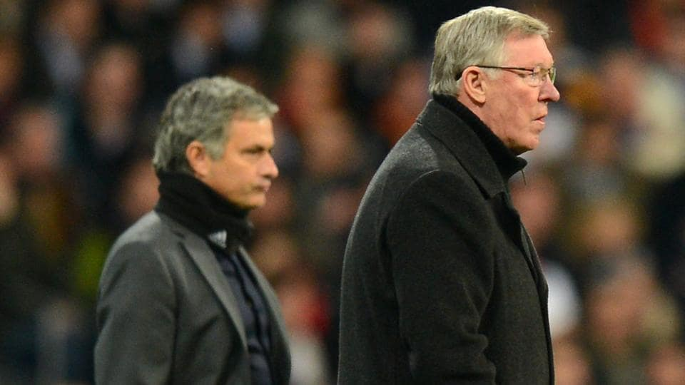 Jose Mourinho (L) is hopeful of former Manchester United manager Alex Ferguson making a full recovery from his current condition.