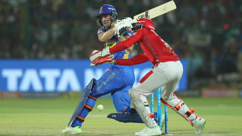 Man of the Match, Jos Buttler of the Rajasthan Royals, hits a boundary during the Indian Premier League (IPL 2018) match against Kings XI Punjab on Tuesday.  (BCCI)