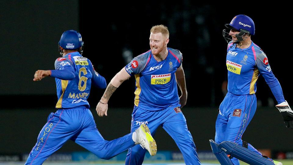 Ben Stokes of Rajasthan Royals celebrates with teammates after taking the wicket of Chris Gayle Kings XI Punjab during their 2018 Indian Premier League (IPL 2018) match at the Sawai Mansingh Stadium in Jaipur on Tuesday. (bcci)