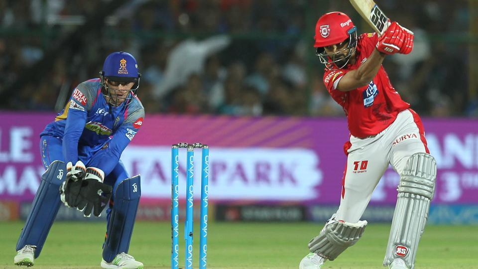 KL Rahul of the Kings XI Punjab scores from a boundary during the IPL 2018 match against Rajasthan Royals. (BCCI)