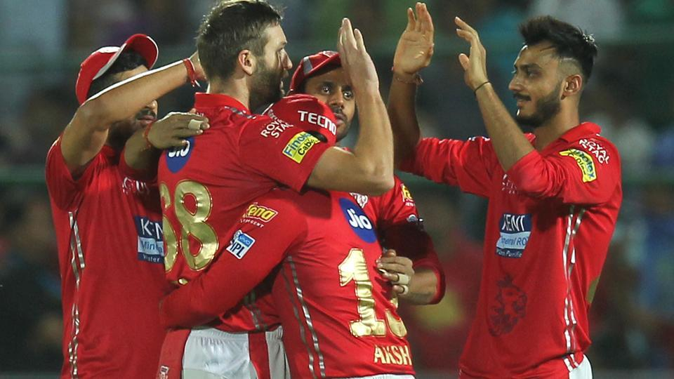 Andrew Tye of the Kings XI Punjab celebrates with teammates after taking the wicket of Ajinkya Rahane (unseen) of the Rajasthan Royals. (BCCI)