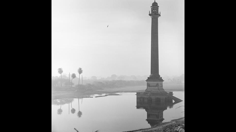 Column at la Martiniere, Lucknow, 1977, Silver gelatin print. 'In the Shadow of the Raj', a selection of 28 photographs by the English photographer Derry Moore from the more comprehensive book of the same name, highlights enduring colonial legacies in the visual and social fabric of India through architectural studies, interiors, landscapes and portraits.  (©Derry Moore / Courtesy Tasveer)