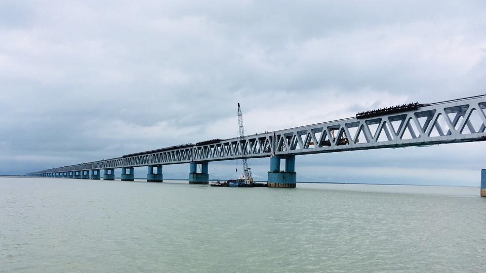 The Bogibeel bridge, on the Brahmaputra in Assam, will be India's longest rail bridge at 4.94 km.