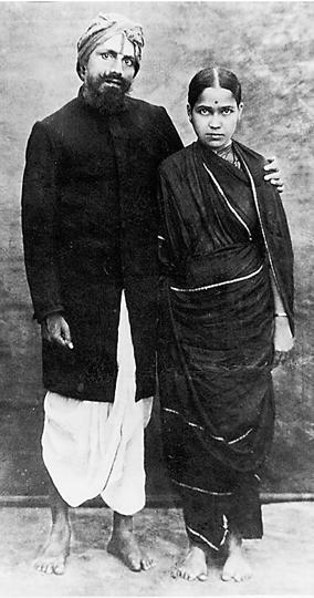 Subramania Bharati with his wife Chellamma.